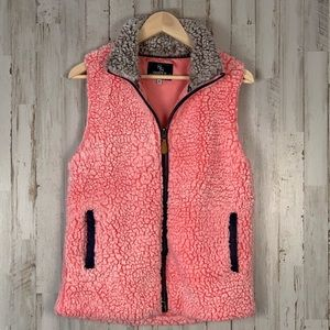 Simply Southern frosted tip Sherpa vest pink gray